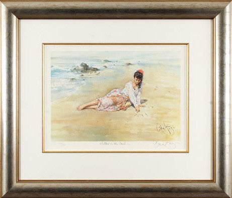Hand Signed Gordon King Fine Art Lithograph Print Letters in the Sand