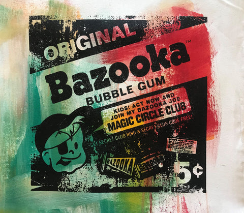 Bazooka Joe Gail Rodgers Acrylic Silkscreen Painting on Canvas Artist Hand Signed