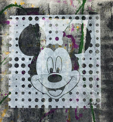 Mickey Mouse Gail Rodgers Acrylic Silkscreen Painting on Canvas Artist Hand Signed