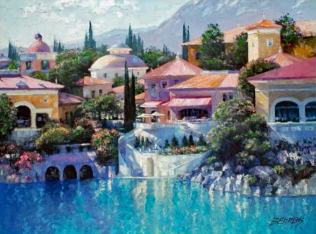 Lago Bellagio Howard Behrens Hand Embellished Canvas Giclee Print Numbered with Artist Authorized Signature