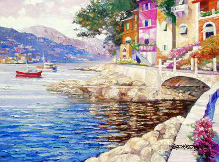 Antibes Remembered Howard Behrens Hand Embellished Canvas Giclee Print Bearing Artist Authorized Signature and Numbered