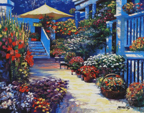 Nantucket Flower Market Artist Proof Fine Art Hand Embellished Canvas Giclee Print Artist Howard Behrens Hand Signed and AP Numbered