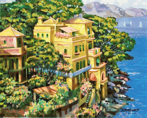 Villa Portofino Howard Behrens Fine Art Serigraph Print Artist Hand Signed and Numbered