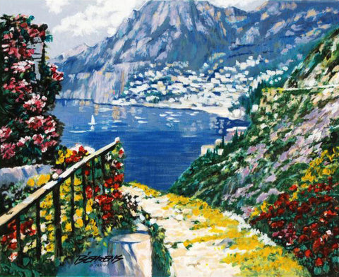 The Road to Positano Howard Behrens Fine Art Hand Embellished Canvas Serigraph Print Artist Hand Signed and Numbered