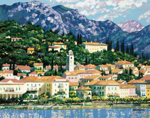 Bellagio Hillside Fine Art Serigraph Print Artist Howard Behrens Hand Signed and Numbered