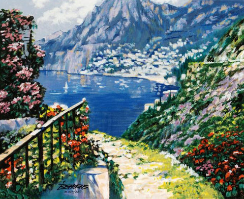 The Road to Positano Howard Behrens Fine Art Serigraph Print Artist Hand Signed and Numbered