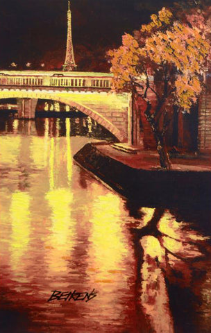 Twilight on the Seine I Hand Embellished Fine Art Print Artist Howard Behrens Hand Signed and Numbered