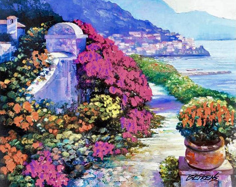 Near Amalfi Hand Embellished Canvas Artist Proof Giclee Print Artist Hand Signed and AP Numbered