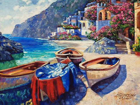 Memories of Capri Howard Behrens Hand Embellished Canvas Giclee Print Artist Hand Signed and Numbered