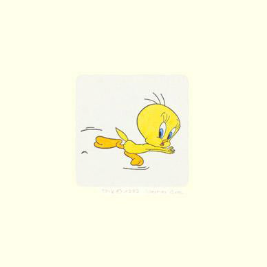 Tweety Bird Warner Bros Looney Tunes Hand Tinted Color Etching Numbered