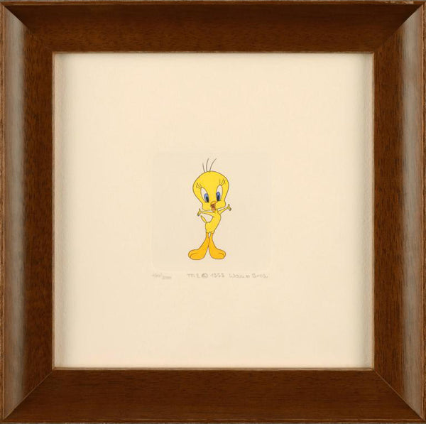 Tweety Bird Warner Bros Hand Tinted Color Etching Numbered and Framed