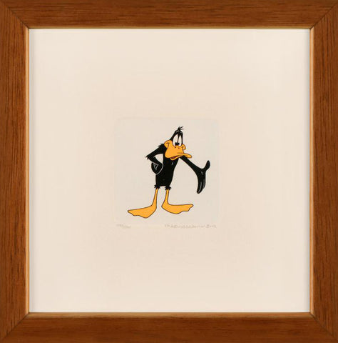Warner Bros Daffy Duck Hand Tinted Color Etching Numbered and Framed