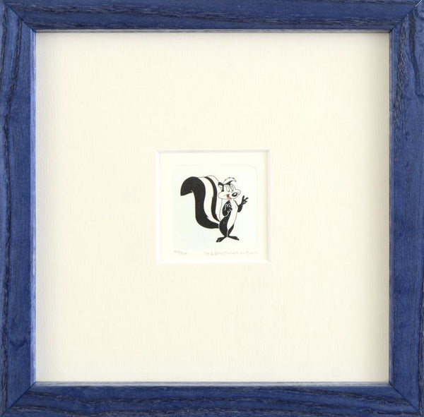 Pepe Le Pew Warner Bros Looney Tunes Hand Tinted Color Etching Numbered Frameder Bros Pepe Le Pew Hand Tinted Color Etching Numbered and Framed