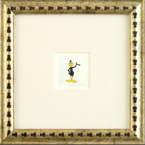 Warner Bros Hand Tinted Color Numbered Etching Daffy Duck Custom Framed