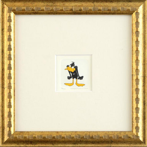 Warner Bros Looney Tunes Hand Tinted Color Etching Daffy Duck Framed
