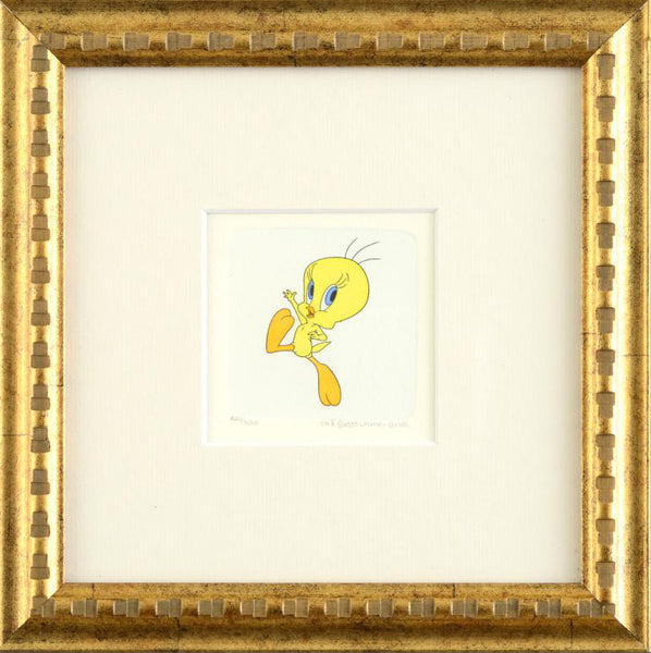 Tweety Bird Warner Bros Looney Tunes Hand Tinted Color Etching Numbered and Framed