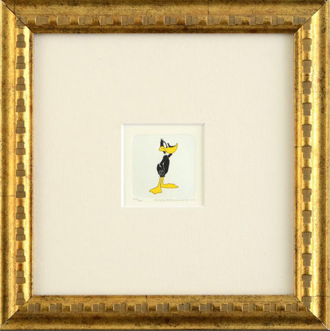 Daffy Duck Warner Bros Looney Tunes Hand Tinted Color Etching Framed