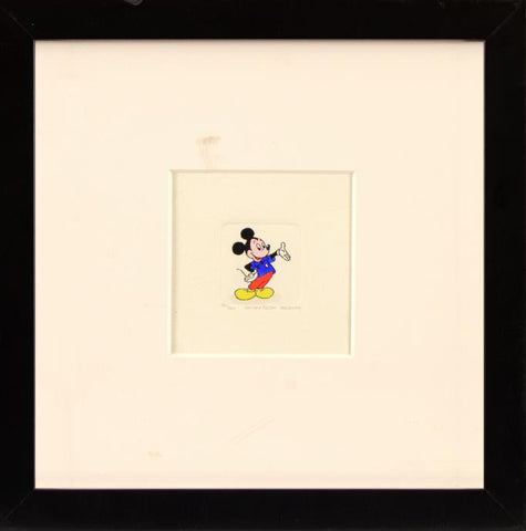 Mickey Mouse Disney Studios Hand Tinted Color Etching Numbered