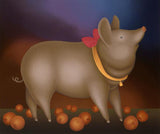 Pig with Pink Bow Igor Galanin Fine Art Serigraph Print Artist Hand Signed and Numbered