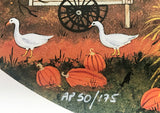 Five White Geese Jane Wooster Scott Artist Proof Lithograph Print Artist Hand Signed and AP Numbered