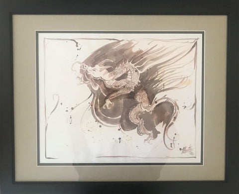 Dragon Marta Wiley Original  Mixed Media Ink Sketch Artist Hand Signed Thumb Printed Framed