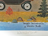 Doggie Deliverance Jane Wooster Scott Lithograph Print Artist Hand Signed and Numbered