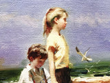 Seaside Gathering Pino Daeni Canvas Giclee Print Artist Hand Signed and Numbered