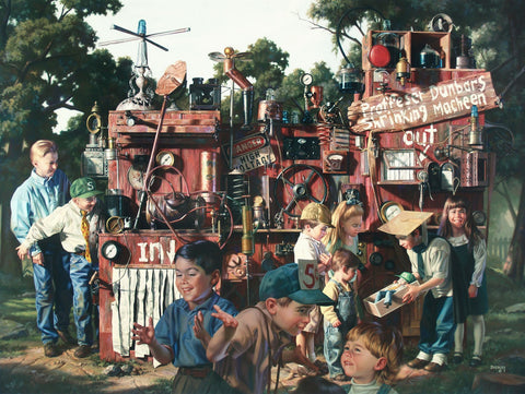 Incredible Shrinking Machine Bob Byerley Fine Art Canvas Giclee Print Artist Hand Signed and Numbered