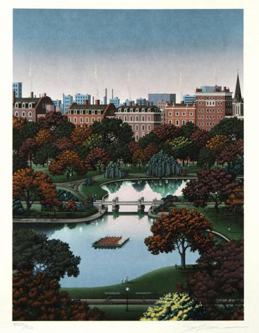 Jim Buckels Boston Public Gardens Fine Art Serigraph Print Artist Hand Signed and Numbered
