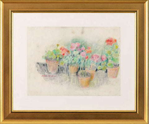 Flowerpots Judith Bledsoe Color Pencil Sketch Artist Hand Signed Framed