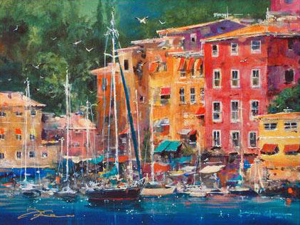 Portofino Bay James Coleman Lithograph Print Artist Hand Signed and Numbered