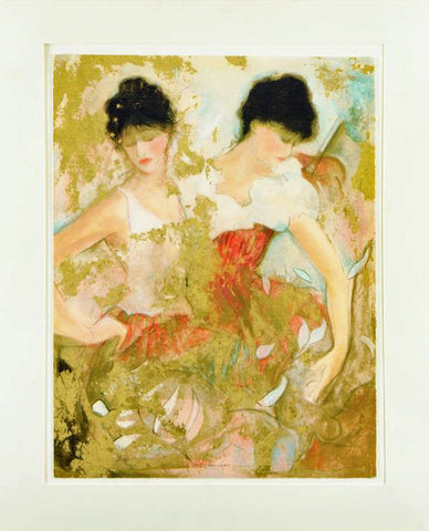 Two Dancers - Limited Edition Serigraph on Paper by Janet Treby