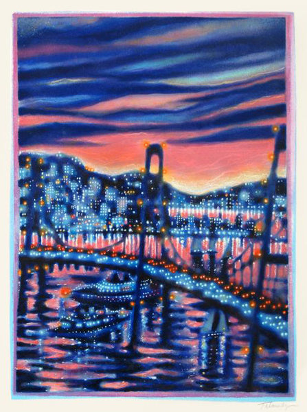 James Talmadge Sunset Cruise Artist Proof Fine Art Serigraph Print Artist Hand Signed and Numbered