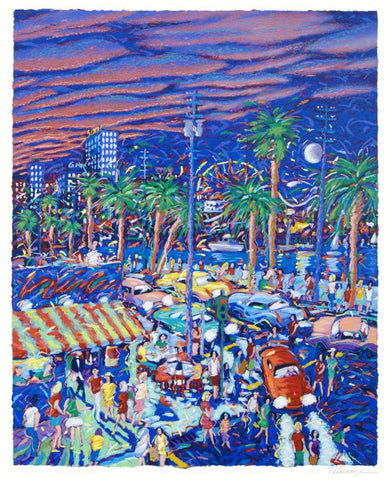 Down by the Boardwalk James Talmadge Fine Art Serigraph Print Artist Hand Signed and Numbered