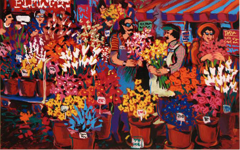 Flower Shop James Talmadge Serigraph Print Artist Hand Signed and Numbered