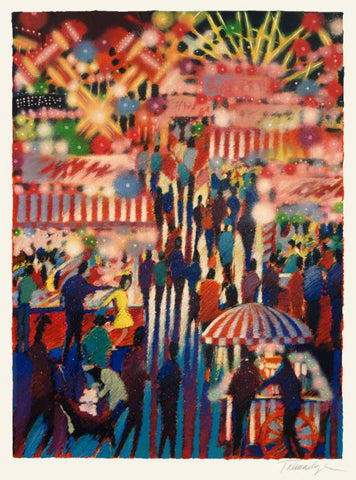 Opening Night at the Carnival James Talmadge Serigraph Print Artist Hand Signed and Numbered