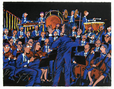 James Talmadge Artist Hand Signed Fine Art Serigraph Print Concert in Blue Numbered