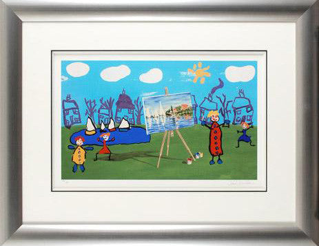The Boating Lake John Wilson Fine Art Giclee Framed Print Artist Hand Signed and Numbered