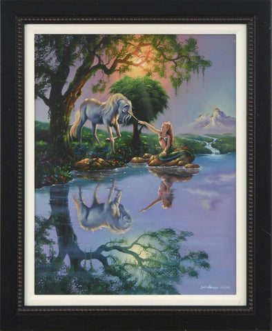 The Mermaid and The Unicorn Jim Warren Fine Art Canvas Giclee Print Artist Hand Signed Numbered and Framed