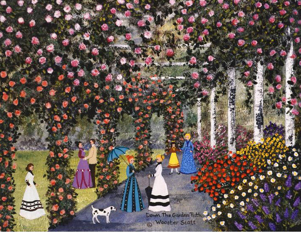 Down the Garden Path Jane Wooster Scott Lithograph Print Artist Hand Signed and Numbered