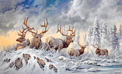 Solstice Rendezvous Elk Larry Fanning Lithograph Print on Paper Artist Hand Signed and Numbered