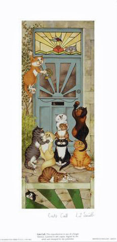 Cats Call Linda Jane Smith Lithograph Print Artist Hand Signed and Numbered