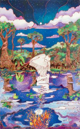 Stork in Swamp Linnea Pergola Canvas Giclee Print Artist Hand Signed and Numbered