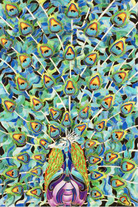 Peacock Linnea Pergola Canvas Giclee Print Artist Hand Signed and Numbered