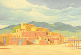 Approaching Storm Over Taos Pueblos Lorna Patrick Fine Art Serigraph Print Artist Hand Signed and Numbered
