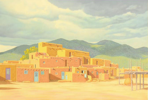 Approaching Storm Over Taos Pueblos Lorna Patrick Serigraph Print Artist Hand Signed and Numbered