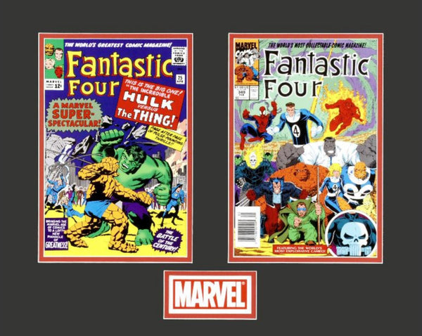 Fantastic Four Marvel Comics Lithocel Dyptych Print Matted