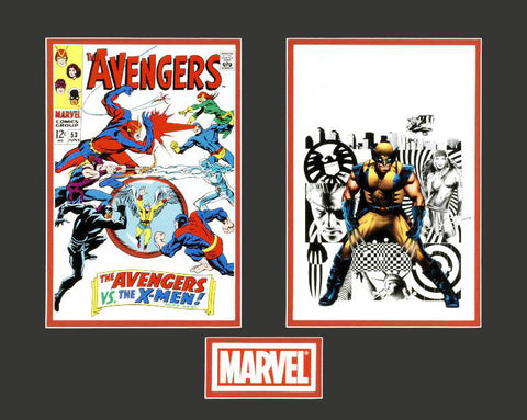 The Avengers Wolverine Marvel Collector Covers Series Fine Art Diptych Lithocel Print Numbered and Matted