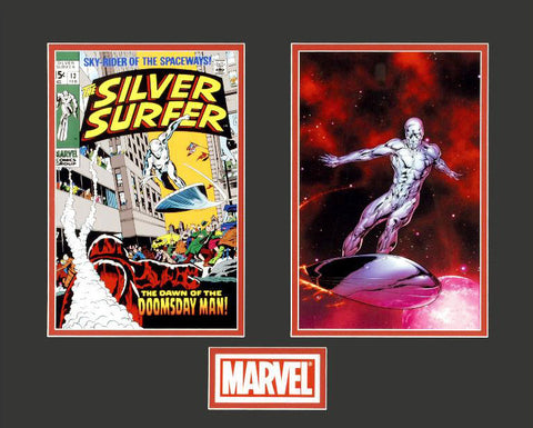 Silver Surfer Marvel Collector Covers Series Fine Art Lithocel Diptych Print Numbered and Matted