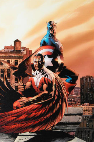 Captain America The Falcon 5 Marvel Comics Artist Steve Epting Fine Art Canvas Giclee Print Numbered